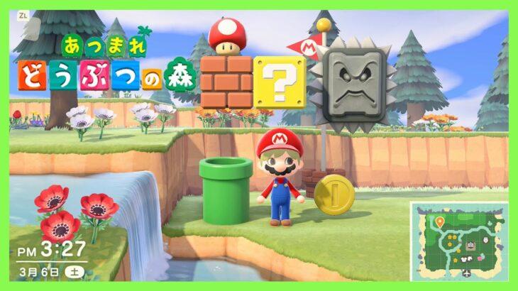 【あつ森】マリオ家具「ドッスン」「ゴールポール」「コイン」「ハテナブロック」「スーパーキノコ」が届く!キャンプサイトを決める #84【あつまれ どうぶつの森】<Animal Crossing>