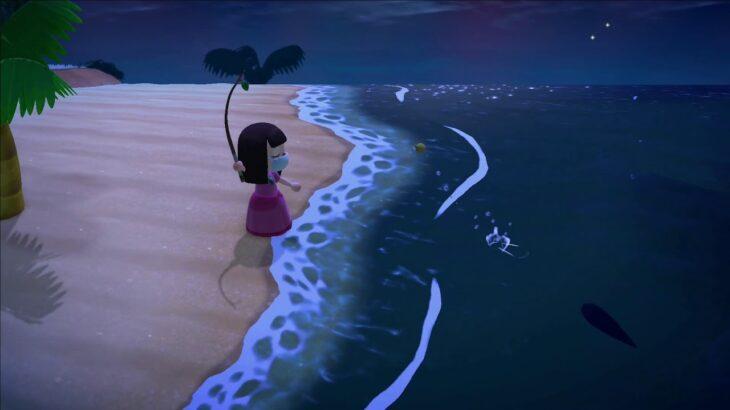 [あつまれどうぶつの森](きょうふのさつじん島) 離島で幻の巨大魚を釣る