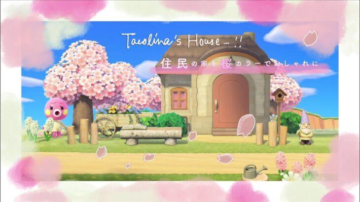 【あつ森】住民の家をナチュラルかわいく  桜カラーでおしゃれな島クリ!マイデザ製作もあります🎨【島クリエイト】【あつまれどうぶつの森】【DIY家具】【ACNH】【タコリーナ】