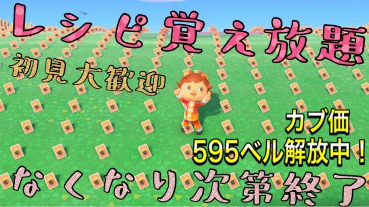 【あつ森】カブ価595ベル開放中!レシピ覚え放題!【初見大歓迎!】☆参加型☆