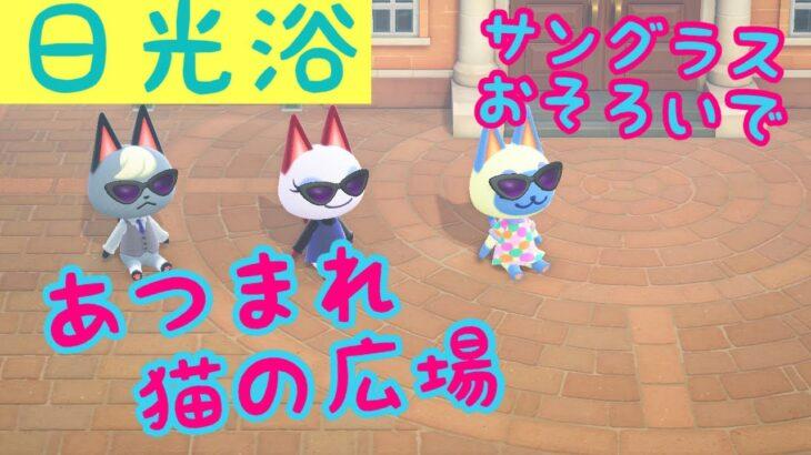 猫のサングラス集会(日光浴)【あつ森ちょこっと動画】